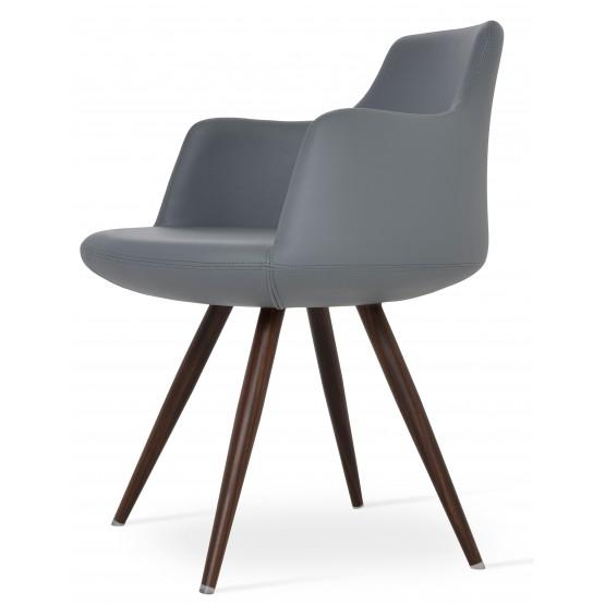 Dervish Star Chair, Walnut Veneer Steel, Grey Leatherette photo