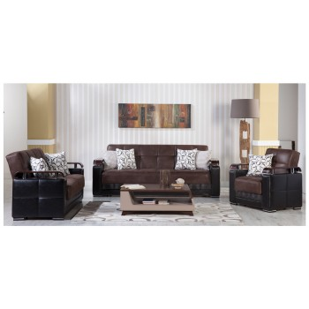 Ekol 3-Piece Living Room Set, Silverado Chocolate