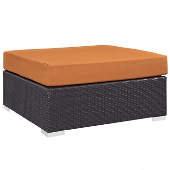 Convene Outdoor Patio Large Square Ottoman, Espresso, Orange by Modway