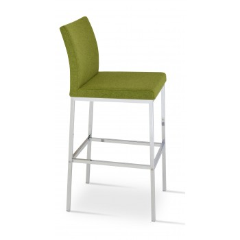 Aria Chrome Bar Stool, Forest Green Camira Wool by SohoConcept Furniture