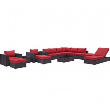 Convene 12 Piece Outdoor Patio Sectional Set, Espresso, Red by Modway