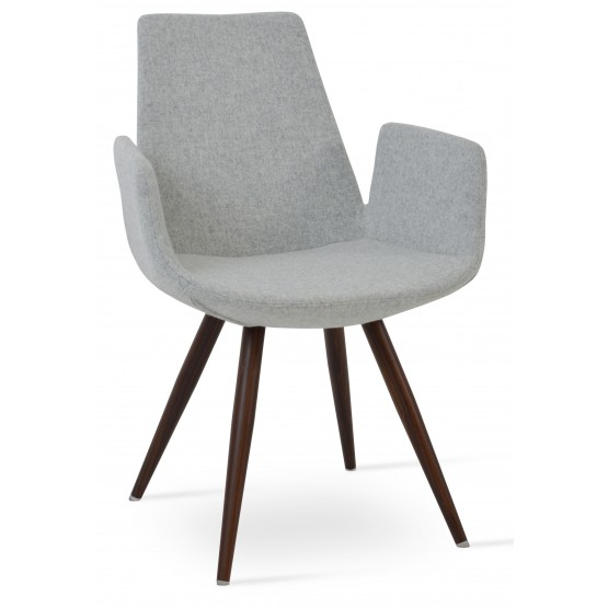 Eiffel Arm Star Chair, Walnut Veneer Steel, Silver Camira Wool photo