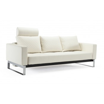Cassius Quilt Deluxe Full Size Sofa Bed, 588 Leather Look White PU + Chromed Legs