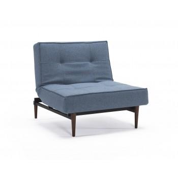 Splitback Chair, 525 Mixed Dance Light Blue Fabric + Dark Wood Legs