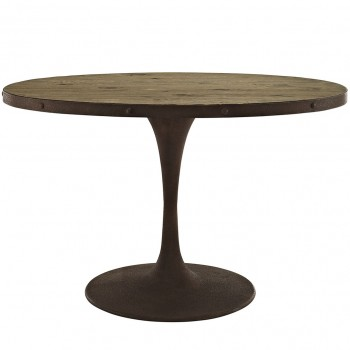 "Drive 47"" Oval Wood Top Dining Table, Brown by Modway"