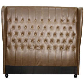 Alice Queen Bonded Leather Wing Headboard, Vintage Brown by NPD (New Pacific Direct)