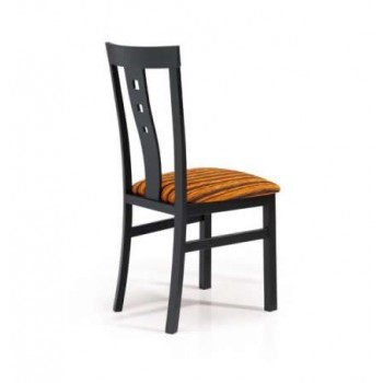 161 Dining Chair, Black Base, Orange + Brown Upholstery