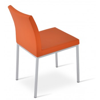 Aria Dininng Chair, Stainless Steel Base, Orange PPM by SohoConcept Furniture