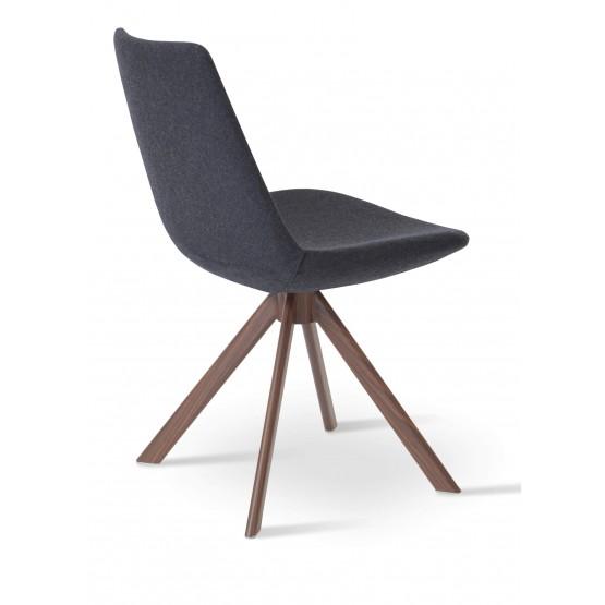 Eiffel Sword Dining Chair, Walnut Veneer Steel, Dark Grey Camira Wool photo