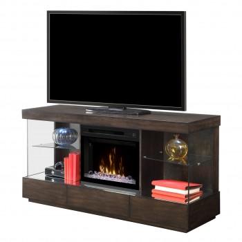 """Camilla Media Console, Mink Finish, Acrylic Ice 25"""" Firebox"""