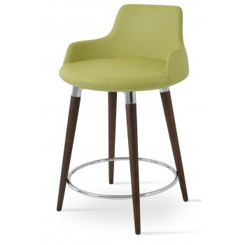 Dervish Wood Counter Stool, Solid Beech Walnut Color, Green Leatherette by SohoConcept Furniture