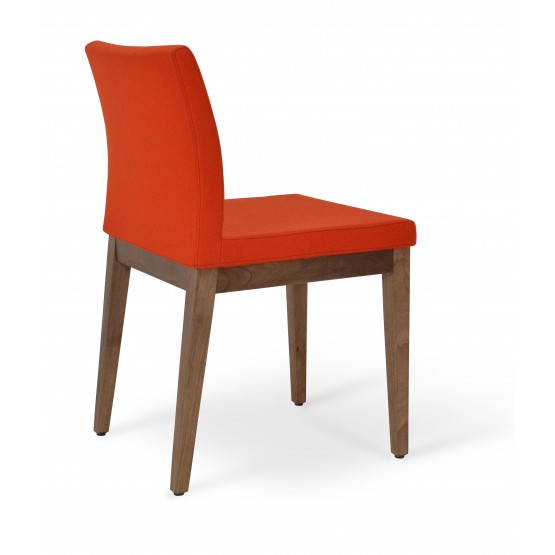 Aria Wood Dining Chair, American Walnut Wood, Orange Camira Wool photo