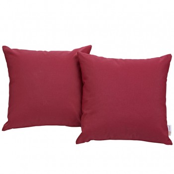 Convene Two Piece Outdoor Patio Pillow Set, Espresso, Red by Modway