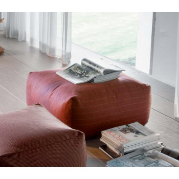 Truly Large Pouf, Brick Red Gessato Fabric