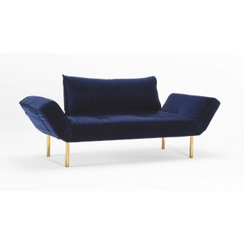 Zeal Deluxe Daybed, 865 Vintage Velvet Blue + Brass Plated Steel Legs