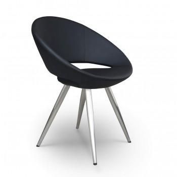 Crescent Star Chair, Black Powder Finish, Gold Velvet, Large Seat by SohoConcept Furniture