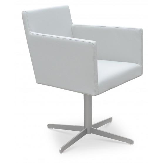 Harput 4 Star Swivel Arm Chair, Light Grey Leatherette photo