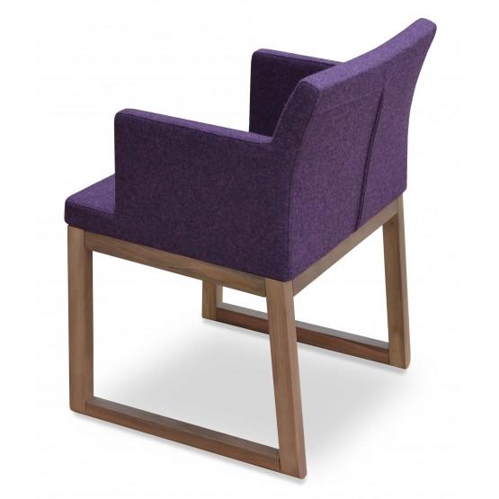Soho Sled Wood Arm Chair, Solid Beech Walnut Color, Deep Maroon Camira Wool photo