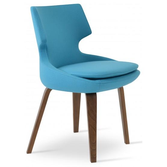 Patara Plywood Dining Chair, Walnut Finish, Turquoise Camira Wool photo