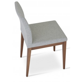 Aria Wood Dininng Chair, American Walnut Wood, Silver Camira Wool by SohoConcept Furniture
