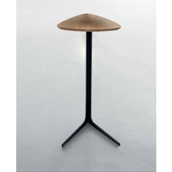 Celine Side Table, Matt Black Metal Base, Natural Oak Wood Top