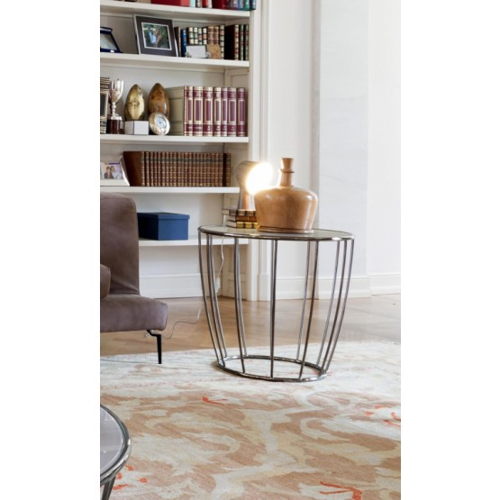 Amburgo Side Table, Black Chromed Metal Base, Extra Clear Beige Glass Top photo