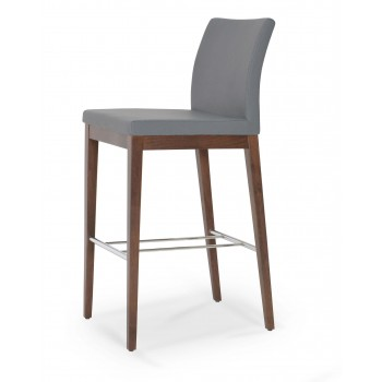 Aria Wood Bar Stool, Solid Beech Walnut Color, Grey PPM by SohoConcept Furniture
