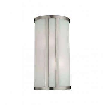 2 Light Wall Sconce Lamp in Brushed Nickel and White Glass