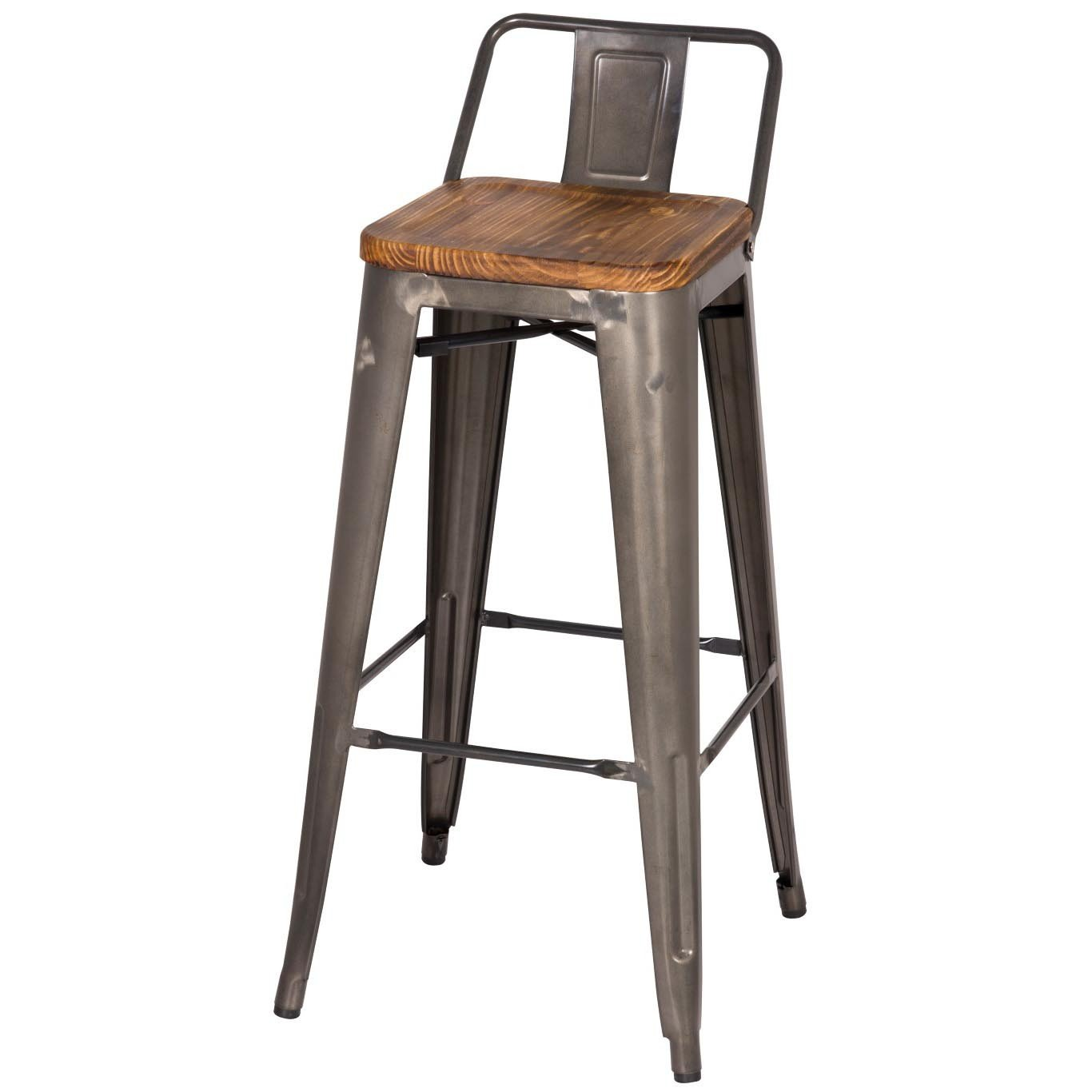 Remarkable Metropolis Low Back Bar Stool Wood Seat Gunmetal Squirreltailoven Fun Painted Chair Ideas Images Squirreltailovenorg