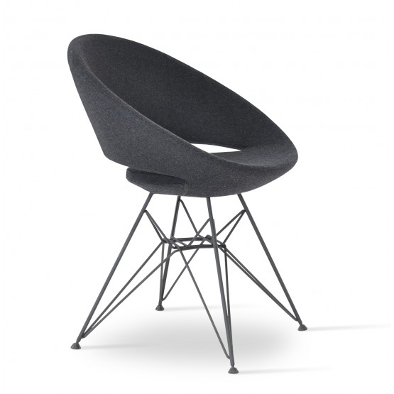 Crescent Tower Chair, Black Brushed, Charcoal Wool photo