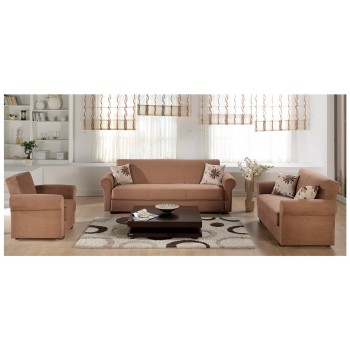 Elita S 3-Piece Living Room Set, Rainbow Brown