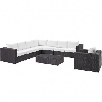 Convene 7 Piece Outdoor Patio Sectional Set, Сomposition 2,Espresso, White by Modway