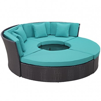 Convene Circular Outdoor Patio Daybed Set, Espresso, Turquoise by Modway