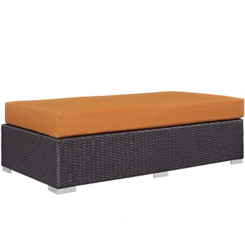 Convene Outdoor Patio Fabric Rectangle Ottoman, Espresso, Orange by Modway