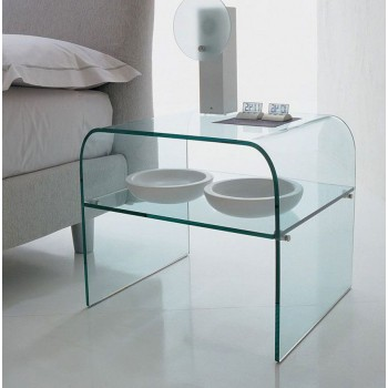 Anemone Side Table with Clear Transparent Glass Shelf, Clear Transparent