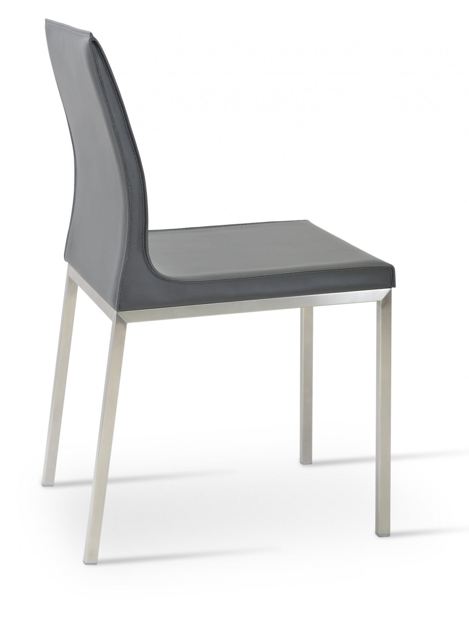Polo Chrome Dining Chair Stainless Steel Dark Grey Bonded Leather By Sohoconcept Furniture
