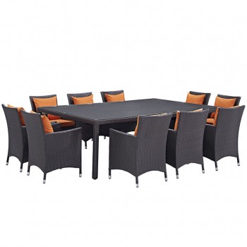 Convene 11 Piece Outdoor Patio Dining Set, Сomposition 2, Espresso, Orange by Modway