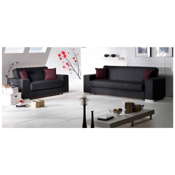 Kobe 2-Piece Living Room Set, Black