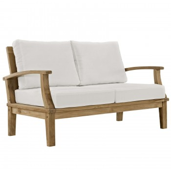 Marina Outdoor Patio Teak Loveseat, Natural, White by Modway