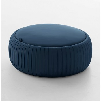 Plisse Medium Pouf, Blue Eco-Leather