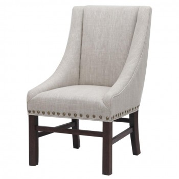 Aaron Sloping Arm Chair, Dark Brown Legs, Rice by NPD (New Pacific Direct)