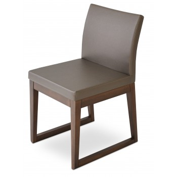 Aria Sled Wood Dininng Chair, Solid Beech Walnut Finish, Golden PPM by SohoConcept Furniture