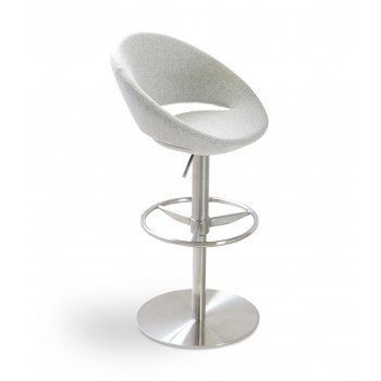 Crescent Piston Stool, Silver Camira Wool by SohoConcept Furniture