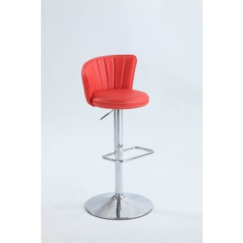0681 Stitched Fan-Back Design Pneumatic Stool, Red