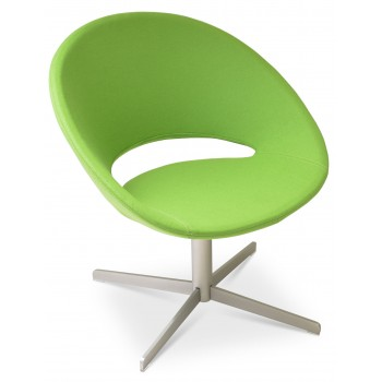 Crescent 4 Star Swivel Chair, Pistachio Camira Wool, Large Seat by SohoConcept Furniture