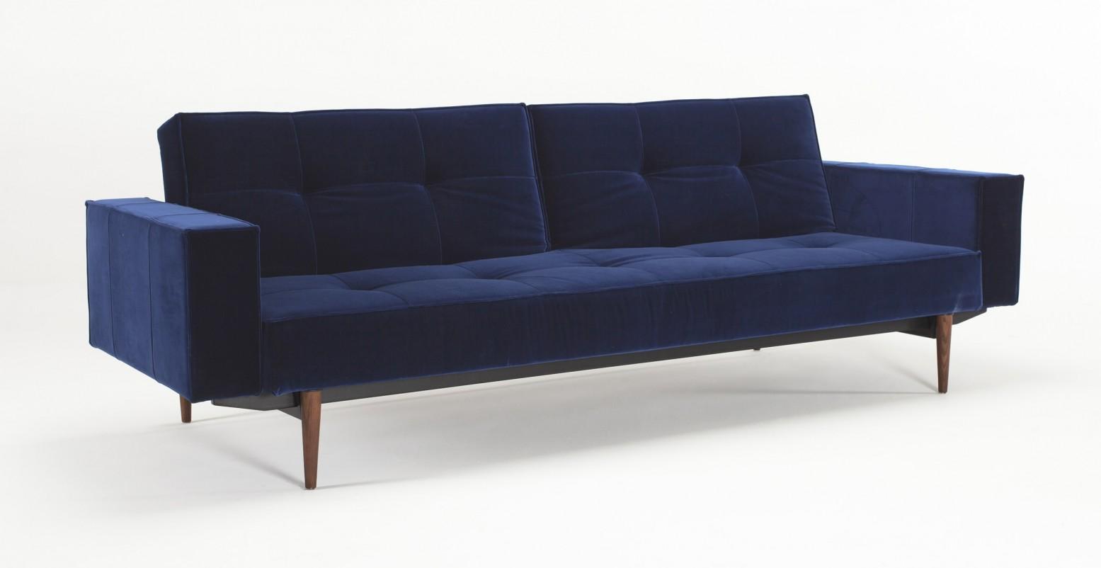 Outstanding Splitback Sofa Bed W Arms 865 Vintage Velvet Blue Dark Wood Legs Ibusinesslaw Wood Chair Design Ideas Ibusinesslaworg