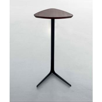 Celine Side Table, Matt Black Metal Base, Chestnut  Finished Oak Wood Top