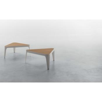 Adele Coffee Table, Matt White Metal Base, Natural Oak Wood Top