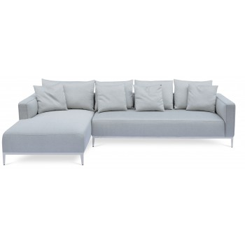 California Sectional, Large, Left Arm Chaise, Stainless Steel Base, Grey Brick Fabric by SohoConcept Furniture