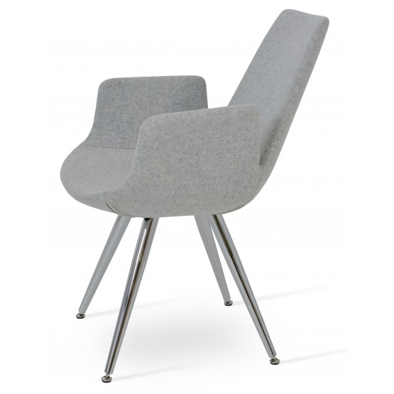 Eiffel Arm Star Chair, Stainless Steel, Silver Camira Wool, Adjustable Foot Caps photo